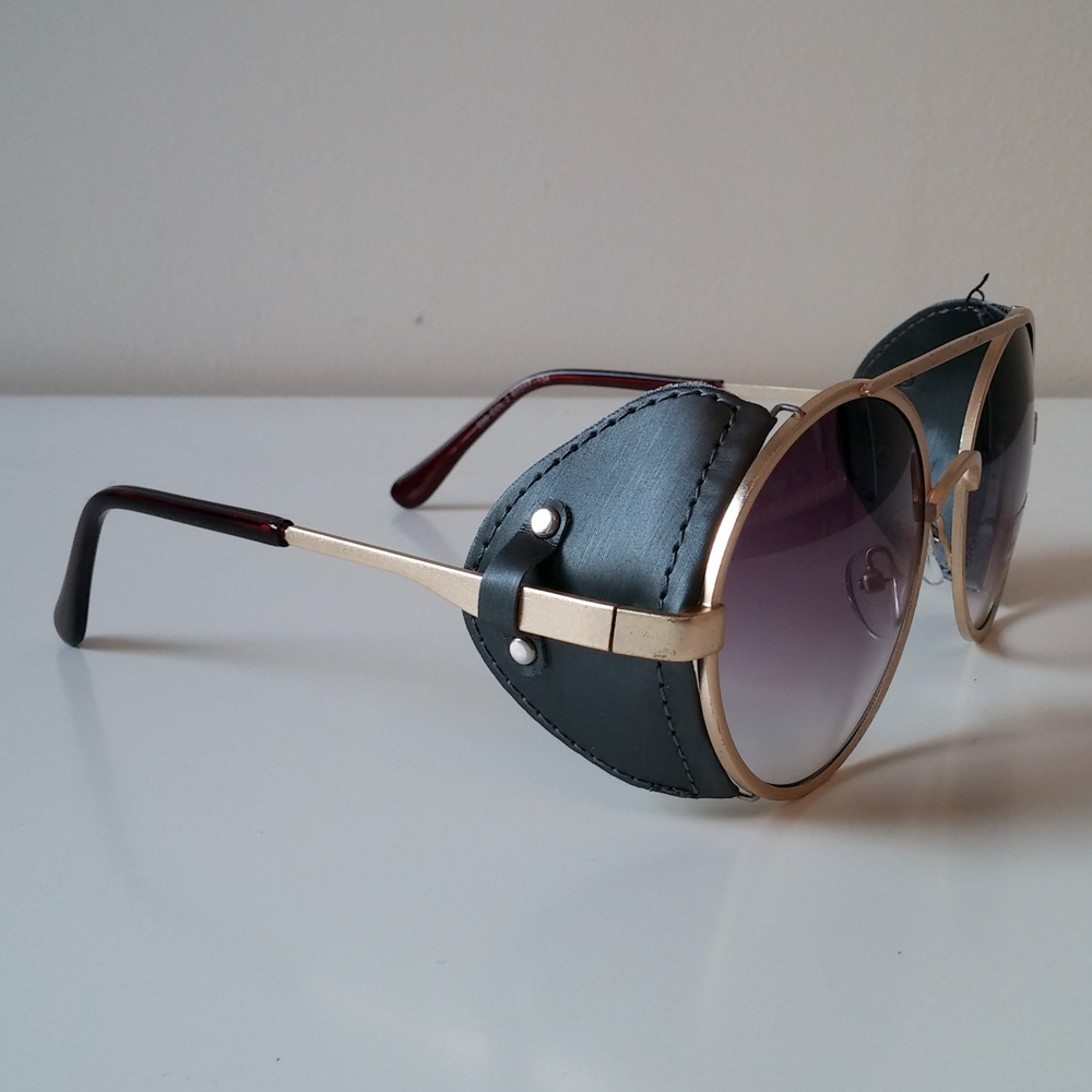Purple  Gold Toned Sunglasses With Fabric Windguard