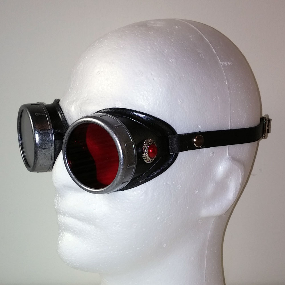 Red Pearl Steampunk Goggles in Silver with Leather Strap