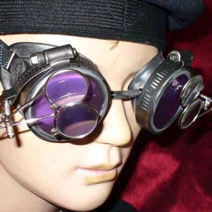 Silver Steampunk Goggles  Magnifying Eye Loupes  Purple