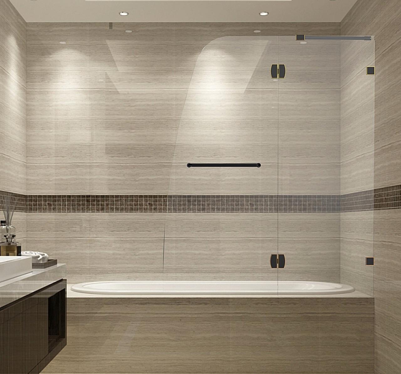 Soleil Completely Frameless Tub Shower Pivot Door Tdr982