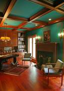 100 Year Old Barn Transformed into Art Studio in Delavan - library-ceiling-and-fireplace