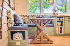 Country Style upholstered kitchen bench provides extra seating and extra storage.