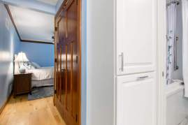 Yorktowne cabinetry with chrome hardware
