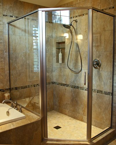 Master Bath with Soaking Tub in Delavan - shower-detail
