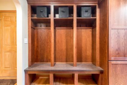 Mudroom cubbies provide space to keep things organized.