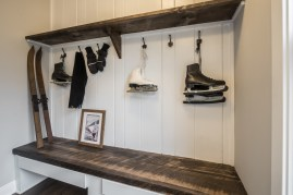 Coat Hooks and Built in Bench and Shelf
