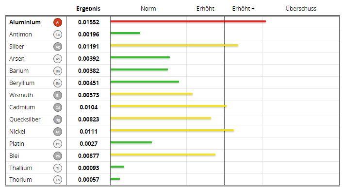 oligoscan Beispiel Schwermetalle Bilanz