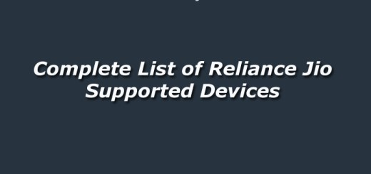 Complete List of Reliance Jio Supported Devices