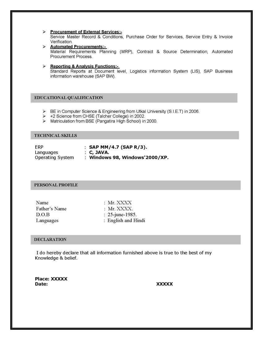 sap resume examples