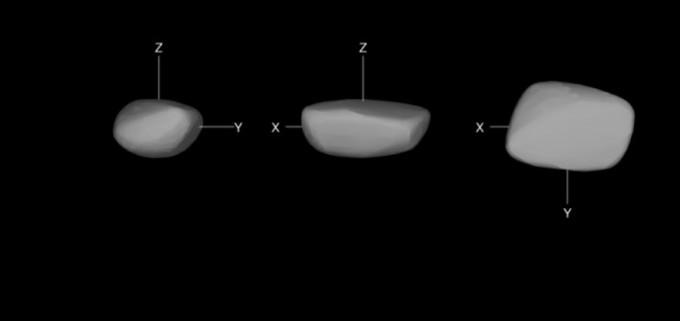 소행성 '2012 TC4'의 3차원(3D) 형상 모형. 긴축이 15m, 짧은축이 8m인 찌그러진 감자 모양이라는 사실은이번에 처음 확인됐다. 한국천문연구원 제공