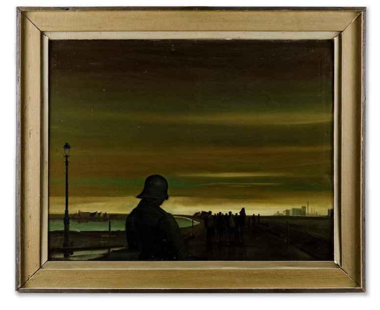 Herman Seij, Het wegvoeren van Schiedammers bij de razzia van 10 en 11 november 1944, collectie Stedelijk Museum Schiedam