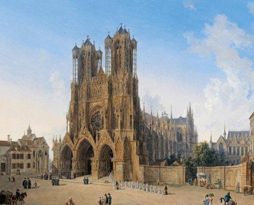 kathedraal reims ansichtkaart negentiende eeuw