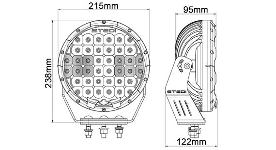 8.5 INCH LED DRIVING SPOT LIGHTS STEDI