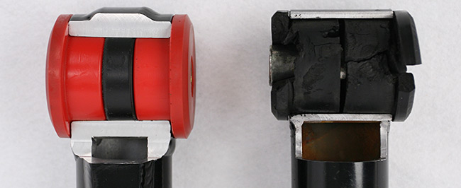 Steeda's Three Piece Bushing (left) Eliminates Bind Unlike Other Brands, Which are Known to Fail