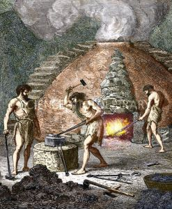 Early humans smelting iron
