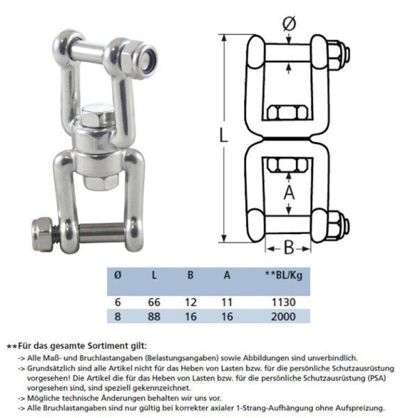 Wirbelschäkel Gabel-Gabel mit Innensechskannt und Sicherungsmutter