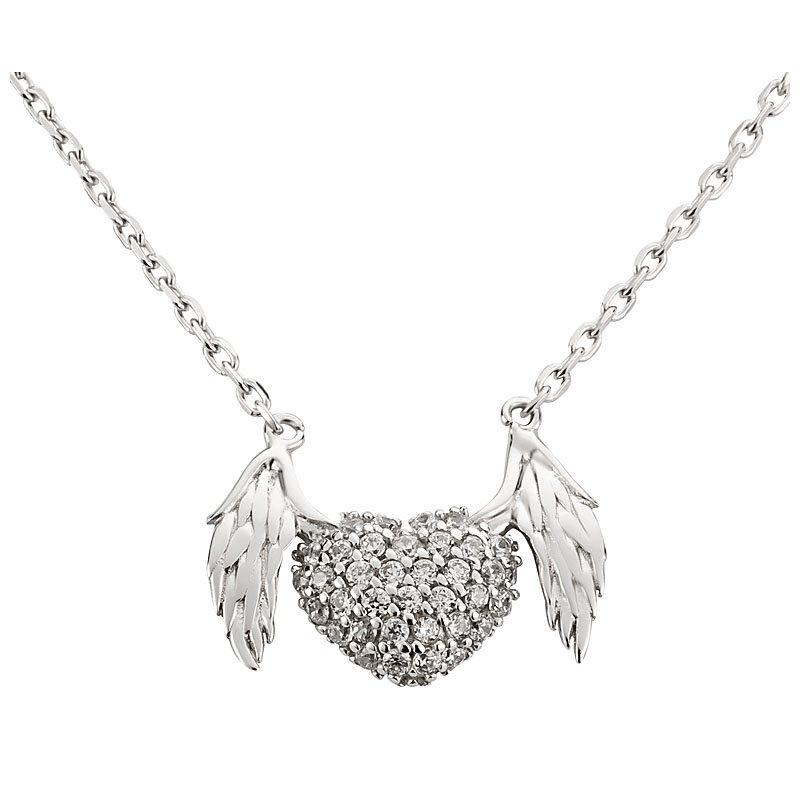 Silberkette mit Anhänger fliegendes Herz