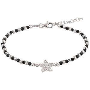 Silberarmband mit Stern und schwarzen Gliedern