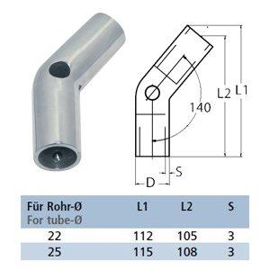 Relingverbinder 140°