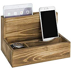 A rustic wood Smartphone and tablet cradle valet, tabletop charging station, brown.