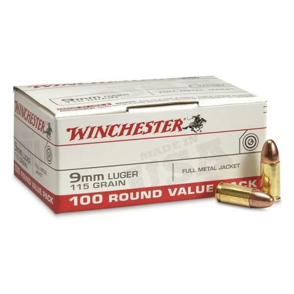 9mm Luger | Winchester - FMJ - 115 Grains - 100 Rounds