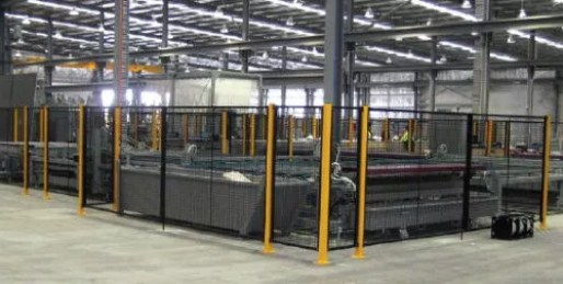 Adjustable perimeter fencing placed around valuable industrial equipment.