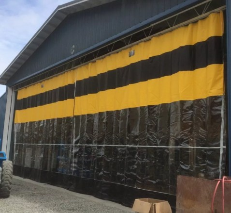 Industrial Heavy Duty Exterior Curtain on Outside of Farm Operation with Clear View Window