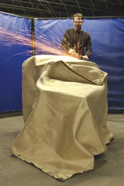 Welding Blankets made with Heat Cleaned Fiberglass Resist Sparks from Grinding and Arc Welding