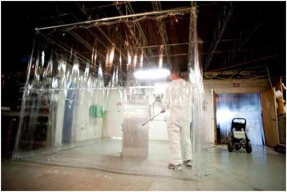 pvc curtains in use in a warehouse