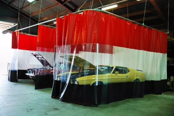 industrial curtains for hot rod auto shops