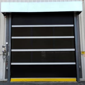 Mesh Roll Up Door with Offset Mount, Jack Chain Motor at the Exterior of Production Facility