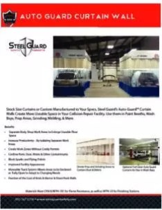 Auto Guard Body Shop Curtain Wall Sell Sheet with Features & Benefits