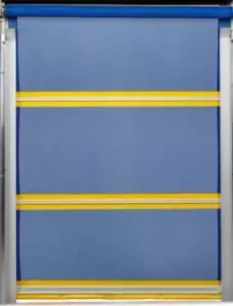 Manual Vinyl Roll Up Door with Yellow & Blue Panel Sections