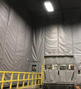Loading Dock Curtains with Insulated Panels and Custom Sliding Curtain Doors on Dock Entry