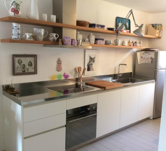 C116 cucina lineare con mensole  Cucine in acciaio inox
