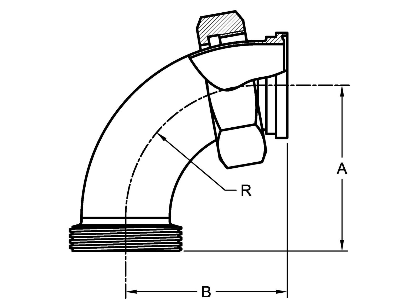 Pv2f Apc 90 Degree Elbow Threaded X Plain Ends