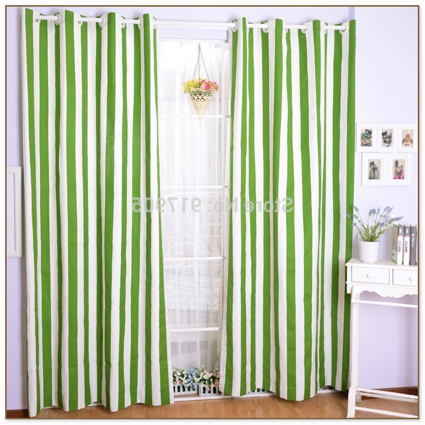 Green And White Striped Curtains