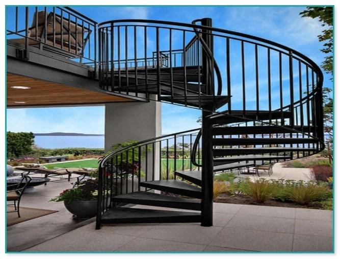 Spiral Staircase Outdoor Deck | Spiral Staircase Outdoor Deck | Log | Portable Rectangular Concrete | Metal | Porch | Black