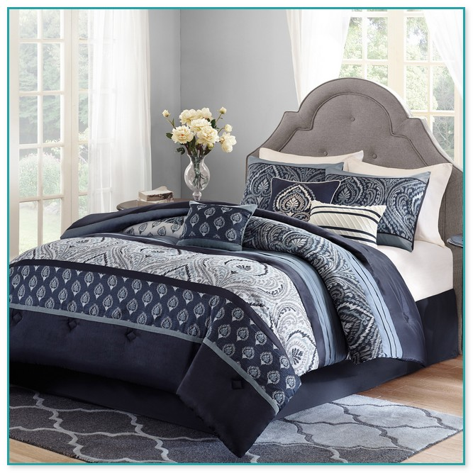Royal Blue And White Comforter Set