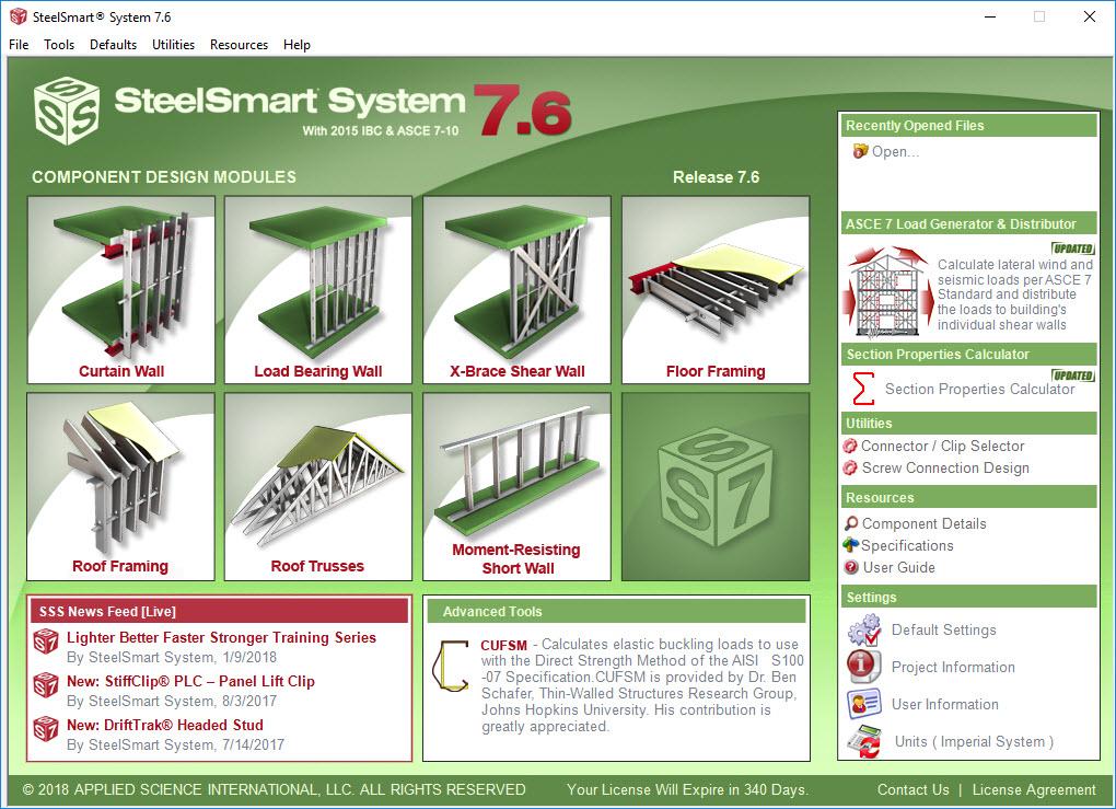 Cold Formed Steel Design Software Cfs Lsf Steelsmart System
