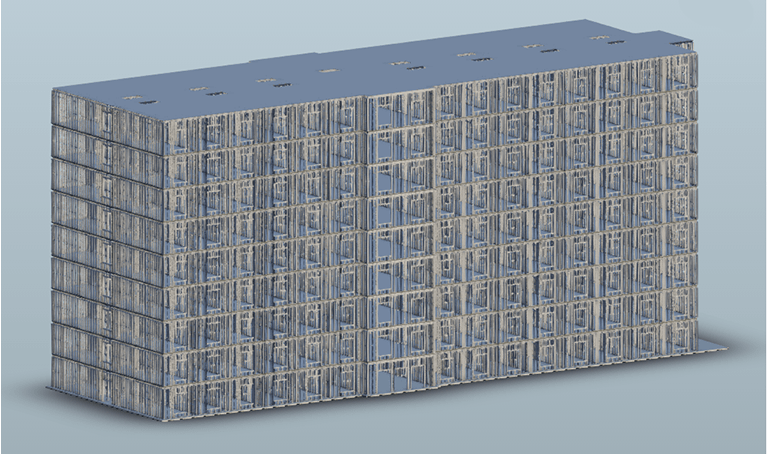 Example midrise cold-formed steel structure modeled in Revit using ASI's SteelSmart Framer BIM plugin.