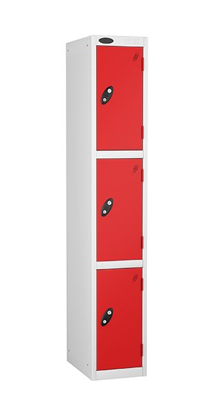 probe 3 doors steel locker red