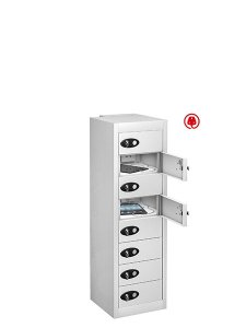 Probe 8 door steel white tabbox usb charging locker