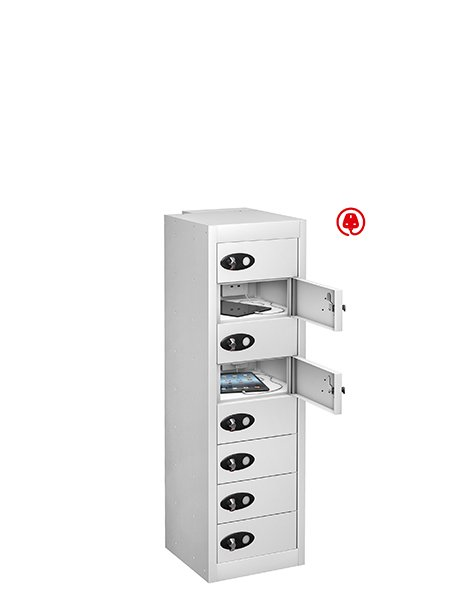 Probe 8 door steel white tabbox usb charging locker