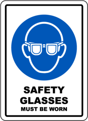 Safety glasses signs   safety glass labels for workplace