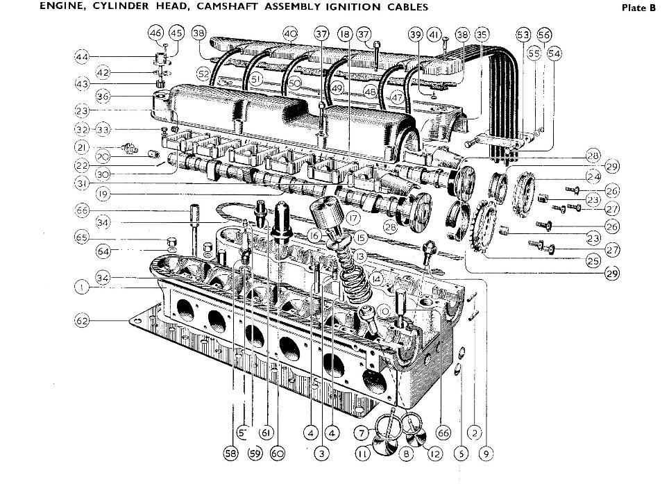 Cylinder head, Camshaft assembly, Ignition cables