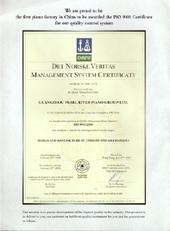 Certificaat Ferd. Hoffstein Piano's en Vleugels