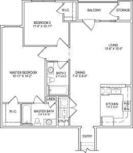 2 Bed / 2 Bath / 1,071 sq ft