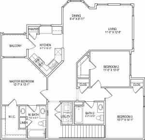 3 Bed / 2 Bath / 1,359 sq ft