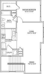 1 Bed / 1 Bath / 834 sq ft